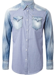 Dsquared2 Gingham And Denim Mix Shirt Blue