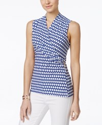 Charter Club Petite Sleeveless Printed Crossover Wrap Top Only At Macy's Modern Blue