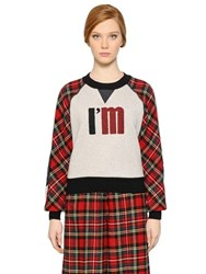 I'm Isola Marras Plaid Wool And Cotton Jersey Sweatshirt