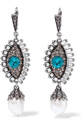 Alexander Mcqueen Silver Plated Multi Stone Earrings