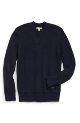 Burberry 'Rathbone' Modern Fit V Neck Wool And Cashmere Sweater Navy