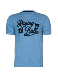 Raging Bull Script Applique T Shirt Sky Blue