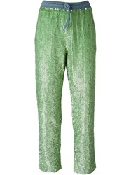 Manoush Sequin Embellished Pants Green