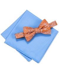 Countess Mara Men's Martin Paisley Pre Tied Bow Tie And Solid Pocket Square Set Orange