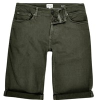 River Island Mens Khaki Skinny Fit Denim Shorts