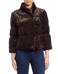 Tahari Arthur S. Levine Three Quarter Sleeve Faux Fur Jacket Sable Brown