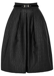 High Graduate Basket Weave Taffeta Skirt Black