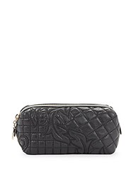Versace Quilted Zipped Leather Wallet Black