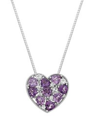 Lord And Taylor Sterling Silver Multi Amethyst White Topaz Heart Pendant Necklace Purple