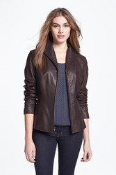Cole Haan Petite Women's Lambskin Leather Scuba Jacket Dark Espresso