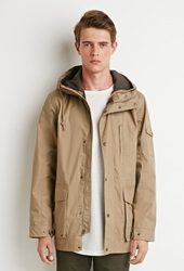 Forever 21 Hooded Utility Jacket Khaki