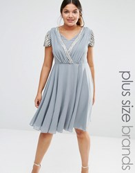 Lovedrobe Short Sleeve Midi Dress With Embellished Sleeves And Wrap Front Detail Grey