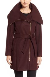 Women's Cole Haan Signature Belted Asymmetrical Wool Blend Coat
