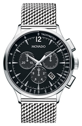 Movado 'Circa' Chronograph Mesh Strap Watch 42Mm Silver Black