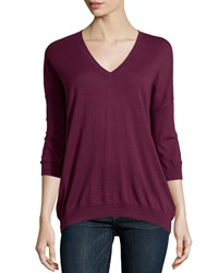 Minnie Rose Long Sleeve Cotton V Neck Everyday Top Plum
