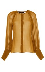 Martin Grant Silk Button Up Blouse Tan