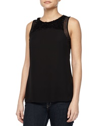 Halston Heritage Leather Detail Tank Top Black