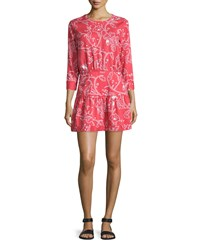 Current Elliott The Tennant 3 4 Sleeve Cutout Dress Chrysanthemum Bandana Paisley