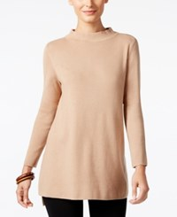 Alfani Mock Neck High Low Sweater Only At Macy's Modern Camel