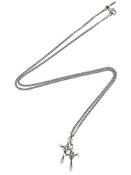 Emanuele Bicocchi Double Silver Cross Pendant Necklace