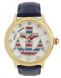 Betsey Johnson Ladies Striped Anchor Dial Watch With Patent Leather Strap Blue