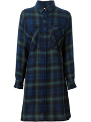 Reality Studio Tartan Shirt Dress Blue
