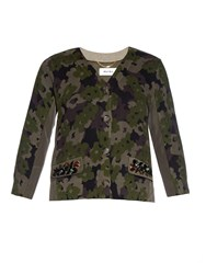 Muveil Camouflage Print Cotton And Nylon Cardigan