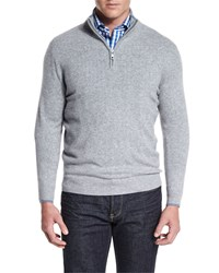 Neiman Marcus Tipped Half Zip Cashmere Sweater Gray