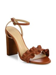 Chloe Kent Ruffled Leather Ankle Strap Sandals Black Brown