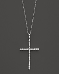 Bloomingdale's Diamond Cross Necklace In 14K White Gold .35 Ct. T.W. No Color
