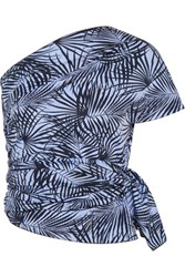 Tomas Maier Printed Cotton Poplin Top Blue