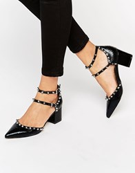 Asos Slow Down Studded Pointed Heels Black Snake