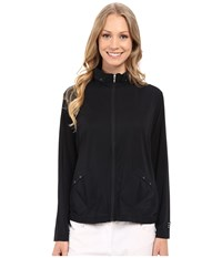 Jamie Sadock Sunsence Light Weight Jacket With 30 Spf Jet Black Women's Coat