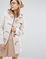 Gloverall Fiitted Duffle Coat With Hood In Oatmeal Cream