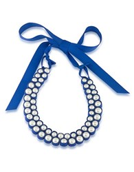1St And Gorgeous Faux Pearl Bib Necklace White Pearl And Blue