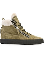 Giuseppe Zanotti Design Side Zip Hi Top Sneakers Green