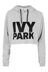 Ivy Park Cropped Logo Detailed Hoodie By Light Grey M