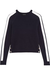 J.Crew Zoinks Striped Cashmere Sweater Midnight Blue
