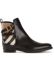 Burberry London 'House' Check Ankle Boots Black