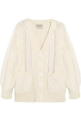 Sea Lace Paneled Cable Knit Cardigan Cream