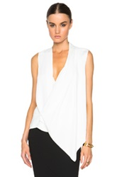 Victoria Beckham Matt Satin Asymmetric Drape Top In White