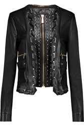 Just Cavalli Woven Trimmed Leather Biker Jacket Black