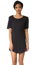 David Lerner Lace Up T Shirt Dress Black