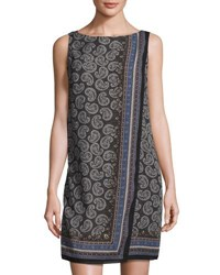 Max Studio Fold Over Wrap Paisley Print Dress Black Du