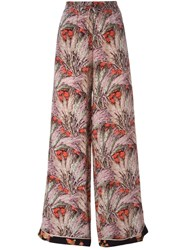 Valentino Wide Leg Floral Print Trousers Red