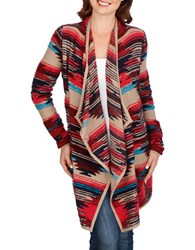 Lucky Brand Striped Open Front Jacket Red Multi