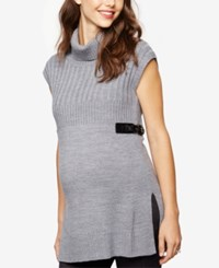 Design History Maternity Sleeveless Turtleneck Sweater Heather Grey