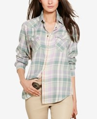 Polo Ralph Lauren Relaxed Fit Plaid Shirt Lilac Aqua