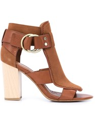Derek Lam 10 Crosby Buckled Block Heel Sandals Brown