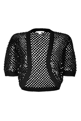 Michael Kors Cashmere Open Knit Bolero With Sequin Embellishment
